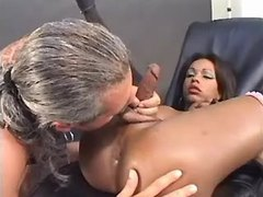 Grizzled man fucks hot ebony tranny
