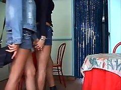 Cute tgirls give blowjob each other