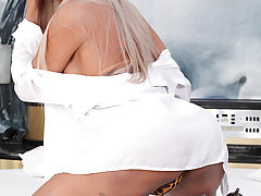 Watch the gorgeous TS Rafaella take her first gangbang!