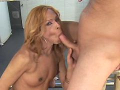 Shemale sucks hard cock on kitchen